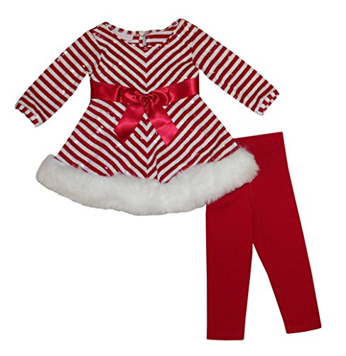 Bonnie Jean Girls 12M - 24M Red Christmas Santa Dress Legging Outfit