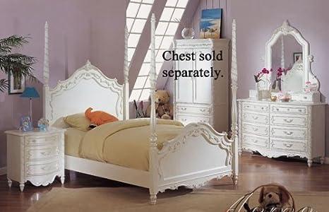 Amazon.com - Acme Furniture Pearl White 4Pc Princess Girls ...