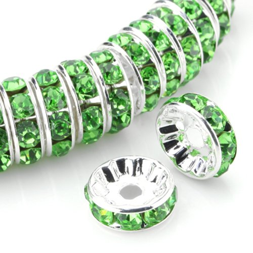 Charm Green Oval - RUBYCA Top Quality 100pcs 8mm Round Rondelle Spacer Beads Silver Tone Peridot Green Czech Crystal
