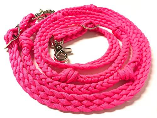 barrel reins horse tack neon hot pink -