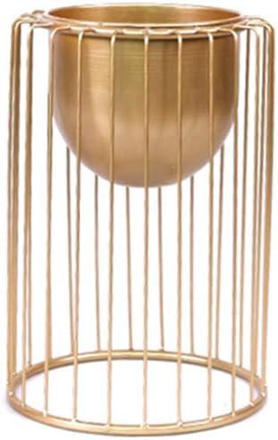 RONG HOME Flor Cubierta del Soporte del Hierro Tiesto Patio Decoración, Balcón Estante de la Esquina de la Planta de contenedores para Sala de Estar/Dormitorio/Estudio/Hotel,Oro,40CM