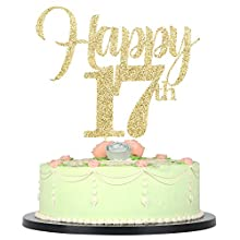 LVEUD Golden Flash 17 Happy Cake Topper Birthday Party Wedding Anniversary Party Anniversary Party Party Cake Ornament (17)