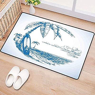 WilliamsDecor SurfDoor mat customizationContemporary Sketch Illustration Hawaiian Beach with Surfboard Palms and Ocean WaterHard and wear resistantBlue White