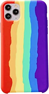 Yesun K Bright Rainbow for iPhone 11 Pro Max Liquid Silicone Fresh and Cute Protective Mobile Phone Case,for Girls, Women, Men (Rainbow)