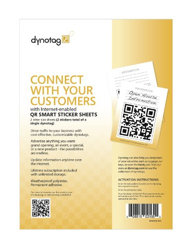 Dynotag® Internet Enabled QR Code Smart Tags - Ready to Use, 2 Giant Full Page Weatherproof Signs w. Adhesive Backing All Purpose Easel
