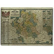 Gear New Glass Cutting Board and Serving Dish, Poland Old Map 1770, also makes great accent decor piece, 11x8, 2082070GN