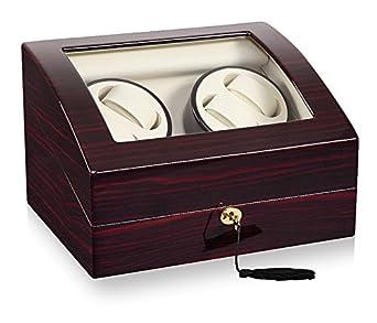 Keedz® Uhrenbeweger Elegance - Stilvoller Uhrenbeweger fÜr 4 Automatikuhren mit zusÄtzlicher Uhrenaufbewahrung f