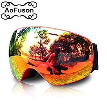 b314537b79b3 World2home Aofuson Brand Professional Ski Goggles Double Lens Anti-Fog  Uv400 Big Spherical Ski Glasses Men Women Snow Skiing Skating Mask   Amazon.in  Home ...