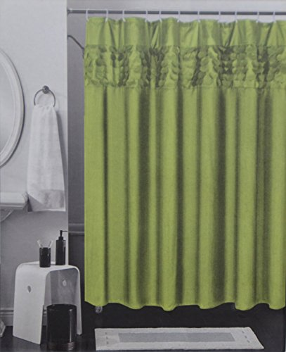 Modern Lifestyle Products Solid Color Fabric Shower Curtain with 3D Design Circle Pattern Band (Green)