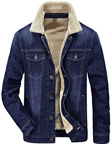 JEWOSOR Mens Plus Velvet Winter Warm Fur Collar Slim Fit Denim Jacket Outwear Parka Coat … (US Large / Tag Asia XXL, Blue) Cotton Velvet Coat
