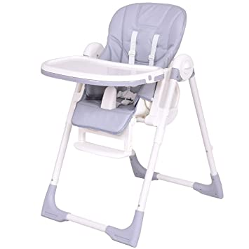 Costzon Baby High Chair Deluxe Infant Feeding Booster With 6 Adjustable Height 5 Recline Positions Gray