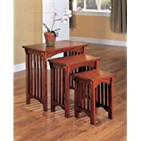 3-Piece Nesting Tables in Warm Mission Oak - Coaster