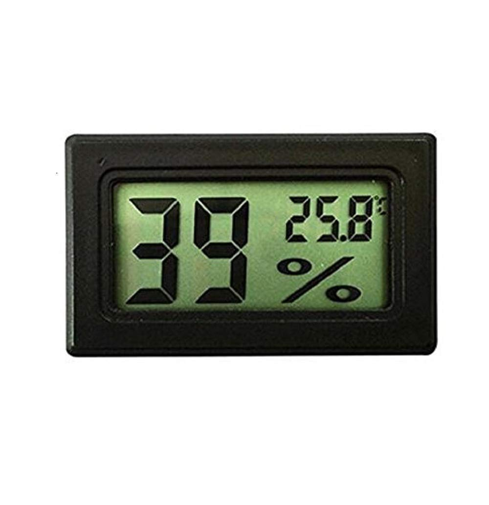 LCD Digital Thermometer Hygrometer,Pack of 10 Mini Thermometer Hygrometer and Humidity, for Greenhouse, Cars, Home, Office (Black)