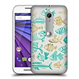 Official Cat Coquillette Fish Inkings Turquoise Gold Sea 2 Hard Back Case for Motorola Moto G (3rd Gen)
