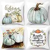 DCZTELG Pumpkin Throw Pillow Cover Halloween Thanksgiving Autumn Decor Pillow Case Cotton Blend Cushion Cover 18x18inch (Set of 4(2))
