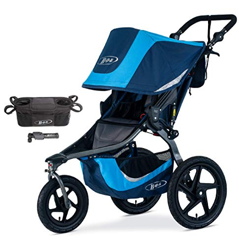 BOB Revolution Flex 3.0 Jogging Stroller, Glacier Blue with Handlebar Console and Tire Pump