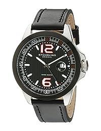 Stuhrling Original Men's 175C.332D51 Octane Grand Concorso Swiss Quartz Date Black Leather Strap Watch