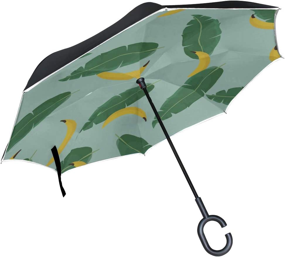 Double Layer Inverted Inverted Umbrella Is Light And Sturdy Summer Pattern Tropical Palm Reverse Umbrella And Windproof Umbrella Edge Night Reflectio