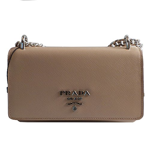 9f75157ff42e Prada Women s Rose Beige Saffiano Crossbody Soft Calf Leather 1BD144 ...