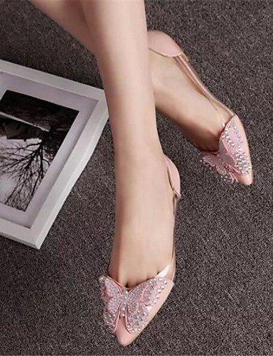 PDX pink rojo Flats 7 señaló negro 5 plano 5 eu37 mujeres vestido us6 Toe gris cn37 de zapatos uk4 talón rosa 5 las 4f6r4qw