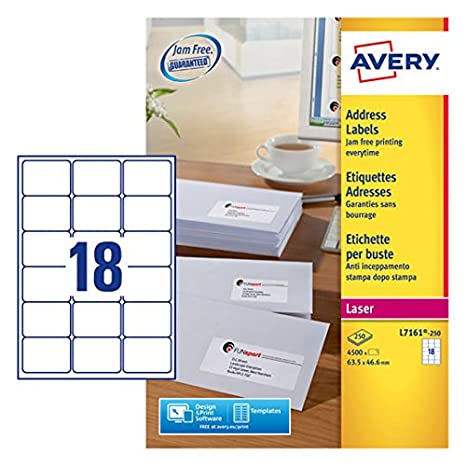 Avery Addressing Labels Laser Jam-free 18 per Sheet 63.5x46.6mm White Ref L7161-250 [4500 Labels] Avery Tico Srl
