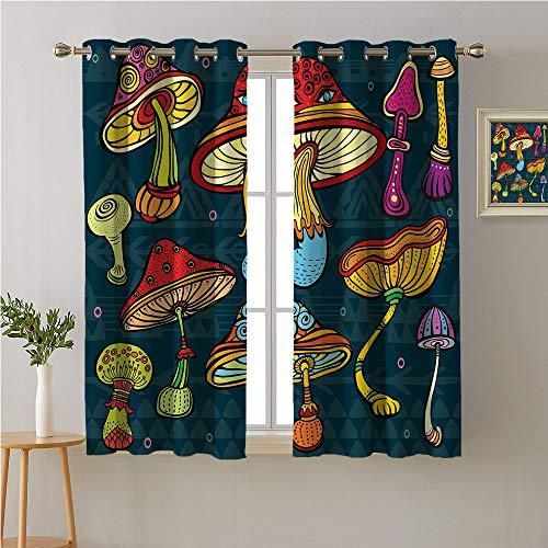 Jinguizi Mushroom Grommet Curtain Kitchen Window,Stylized Mushrooms Ornate Doodles with Swirls Eyes Psychedelic Botany and Growth,Window Darkening Curtains,63W x 63L