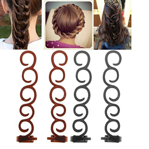 cuhair 4pcs Magic Fashion Women Girls French Braid Party Twist Braider Roller Hook Bun Maker Hair Styling Tool Clip Hair Accessories