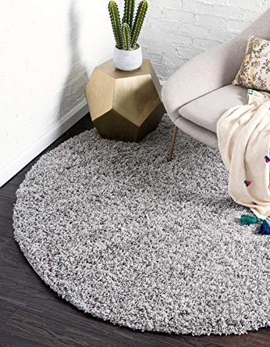 Unique Loom Solo Solid Shag Collection Modern Plush Cloud Gray Round Rug (8' 2 x 8' 2) (X Round 8 Area Rugs 8)