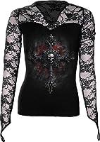 Spiral Direct für Damen Vampires Cross Langarm Netz, Hip Länge Top (LG 16 -...