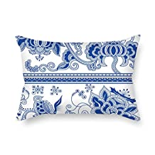 The Chinese Style Blue And White Porcelain Pillow Shams Of 18 X 26 Inches / 45 By 65 Cm Decoration Gift For Son Dance Room Festival Monther Pub Valentine (each Side)