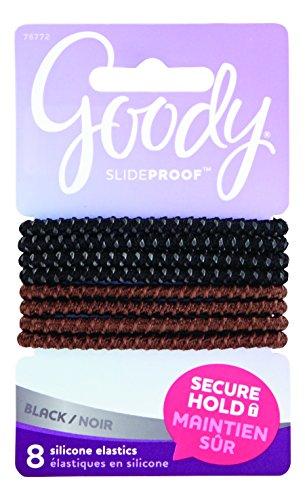 Goody SlideProof Hair Tie Elastics, 4mm, Black and Brown, 8-count