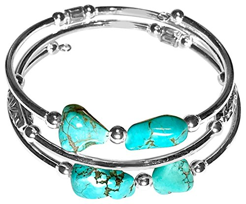 Sofia Luxe Handmade Stainless Steel and Stabilized Turquoise Wrap Around Memory Wire Bracelet Cuff Bangle (silver-plated-stainless-steel) Memory Wire Bangle