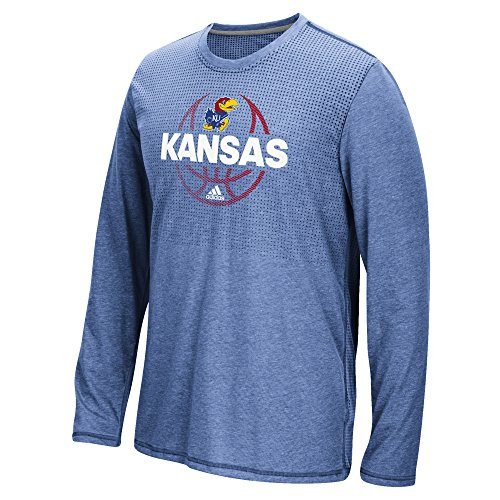 NCAA Kansas Jayhawks Men's Fade Away ClimaCool Aeroknit Long Sleeve Tee, XX-Large, Collegiate Royal Heathered