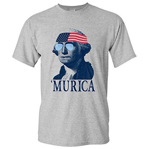 UGP Campus Apparel George Washington Murica Basic Cotton T-Shirt - 3X-Large - Sport Grey