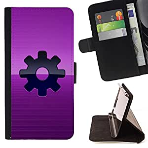 DEVIL CASE - FOR Apple Iphone 5C - Purple Sprocket Steam punk - Style PU Leather Case Wallet Flip Stand Flap Closure Cover