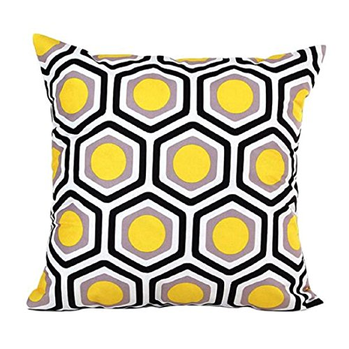 OverDose,Géométrique Forme Canapé Lit Maison Deco Oreiller Coussin Couverture (jaune)