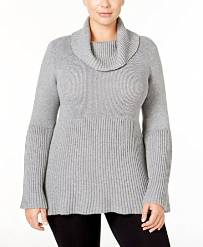 Style & Co. Womens Plus Ribbed Trim Bell Sleeve Pullover Sweater Gray 1X by STYLE & CO