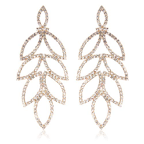 Laurel Crystal Chandelier Gold (RIAH FASHION Sparkly Geometric Rhinestone Chandelier Hoop Statement Earrings - Cubic Zirconia Crystal Bridal Duster Dangles Fringe Tassel/Waterfall Drape/Circle Ring (Art Deco Laurel Leaf - Gold))