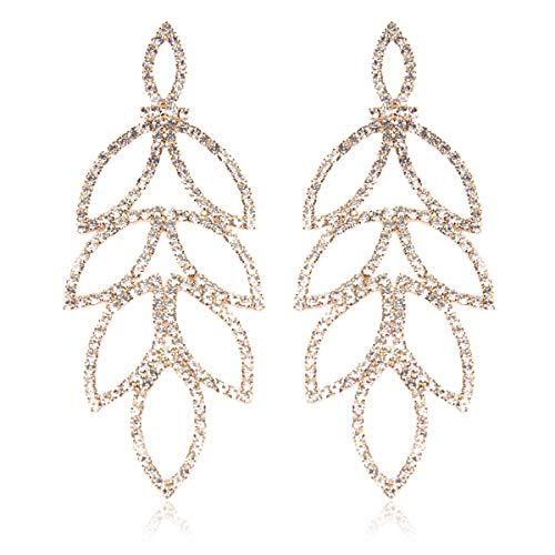 (RIAH FASHION Sparkly Geometric Rhinestone Chandelier Hoop Statement Earrings - Cubic Zirconia Crystal Bridal Duster Dangles Fringe Tassel/Waterfall Drape/Circle Ring (Art Deco Laurel Leaf - Gold))