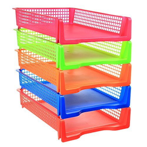 5 Tier - Plastic Desk Letter Organizer Tray, Stackable Front Loading Office Desktop Document Storage Paper Holder, 5 Color Set (Portrait)