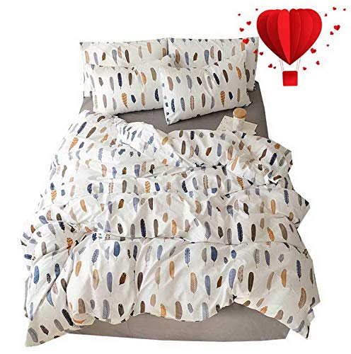Hemau Feather Print Pattern Lightweight Set White with Zipper Closure 200 Thread Count,Premium Soft Cotton King Bedding Collections for Men Women Boys Girls,Cozy,No Comforter   Style 503196133 - Southport Two Light