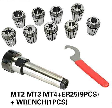 QINGRUI Lathe tools ER25 Spring Clamps 9PCS MT2 ER25 M12 1PCS ER25 Wrench 1PCS Collet Chuck Holder Cone For CNC Milling Lathe Tool Accessories (Size : MT3 ER25 (9ps))