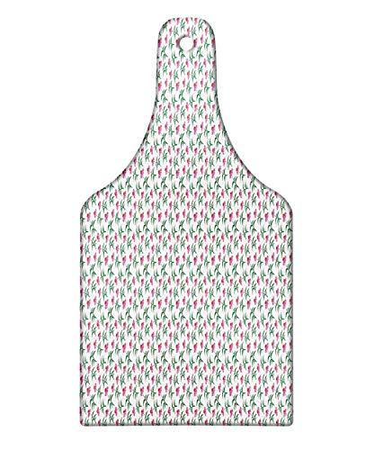 Lunarable Echinacea Cutting Board, Simplistic Digital Drawn Cone Flowers Pattern, Decorative Tempered Glass Cutting and Serving Board, Wine Bottle Shape, Pink Burnt Orange Forest Green White