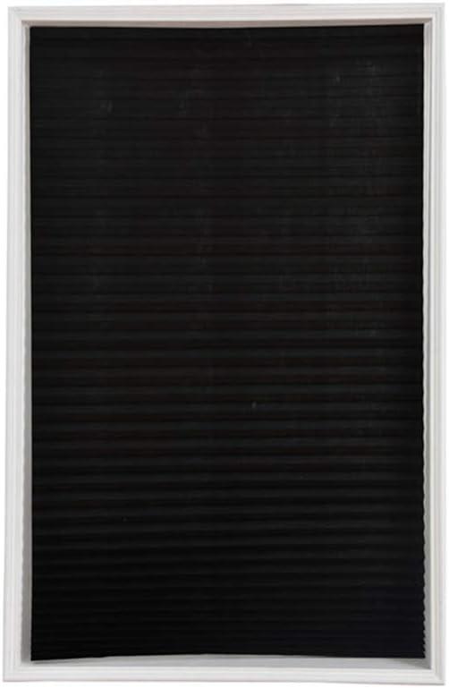 Winossiy Darkening Pleated Blind Cordless Self-Adhesive Window Shade Home Furnishings,Black 3,90x150cm