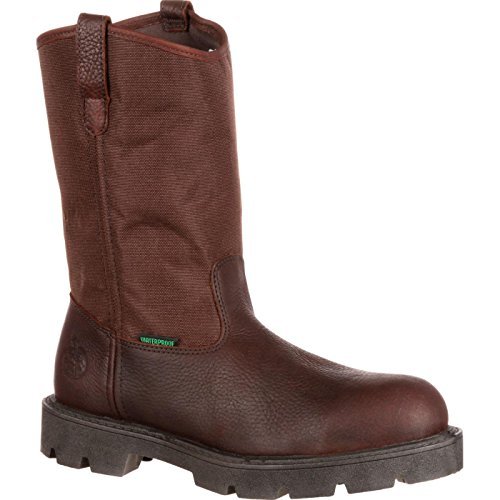 Steel Boot Toe Wellington (Georgia Boot Homeland Steel Toe Waterproof Wellington Brown)