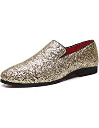 4376ee64790 Men s Modern Metallic Slip On Nightclub Shoes Textured Glitter Sequins  Loafers Wedding Shoes