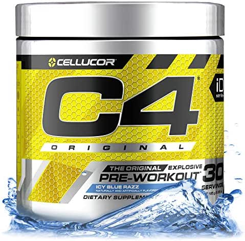 Cellucor C4 Original Pre Workout Powder Energy Drink Supplement For Men & Women with Creatine, Caffeine, Nitric Oxide Booster, Citrulline & Beta Alanine, Icy Blue Razz, 30 Servings