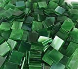 """1/2"""" Forest Green Stained Glass Mosaic Tiles"""