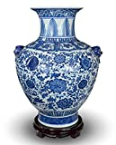 Festcool 18' Classic Blue and White Floral Porcelain Vase, Double Lion Head Ears Ceramic China Ming Style