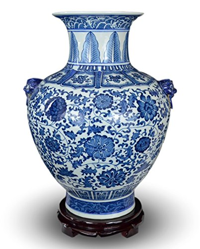 white and blue ginger jar 18 - 3